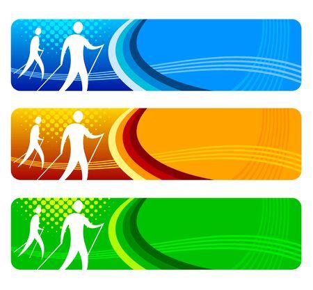 Nordic-Walking-Banner für das Web Vektorgrafik