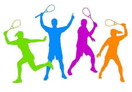 Squash sport players