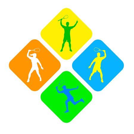 Squash players in buttons Ilustração