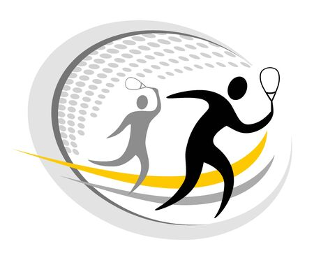 Squash players icon design
