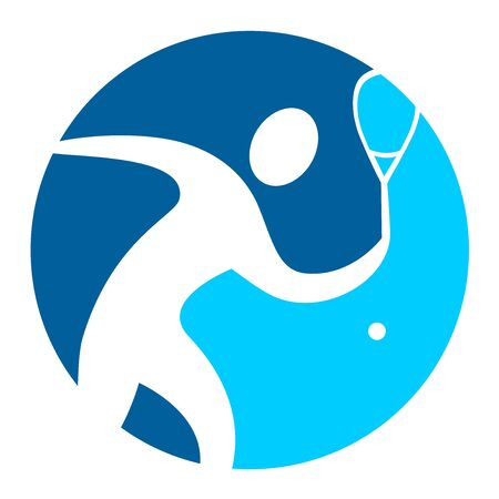Abstract squash player in a blue button