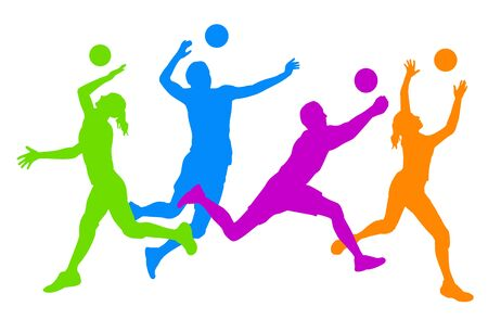 Volleyball sport silhouettes Illustration
