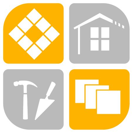 Tiler service vector illustration in buttons Illustration