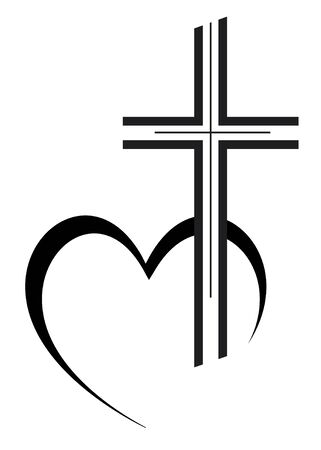 Cross vector illustration with heart