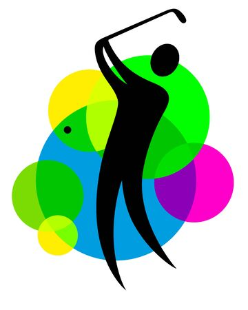 Abstract golf player with colored buttons