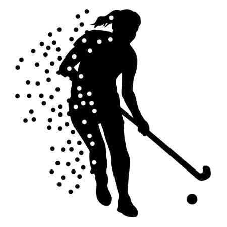 Hockey player silhouette Illusztráció
