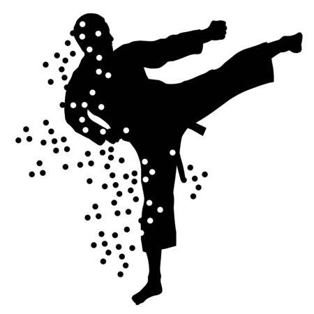 Silueta de luchador de karate abstracto Ilustración de vector