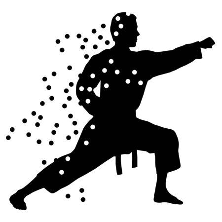 Luchador de karate abstracto Ilustración de vector