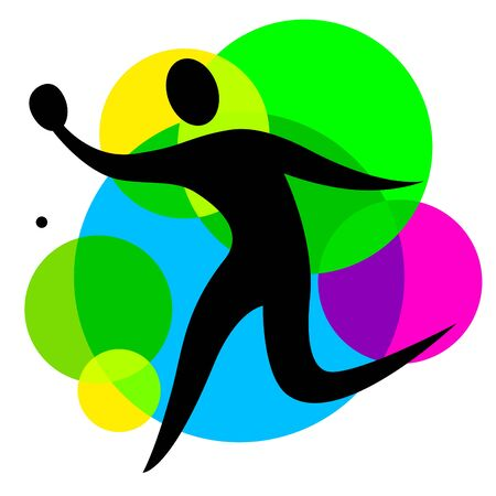 Abstract table tennis player