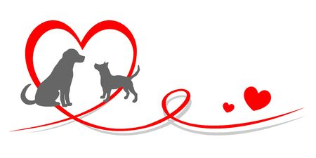 Dogs in love vector illustration