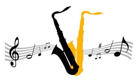 Music instrument illustration with saxophone