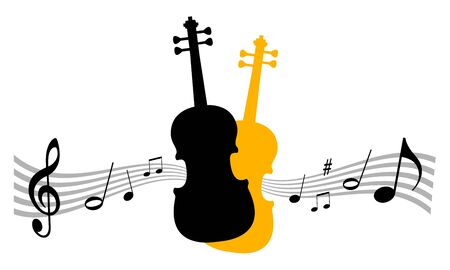 Music instrument vector illustration with violin Vettoriali