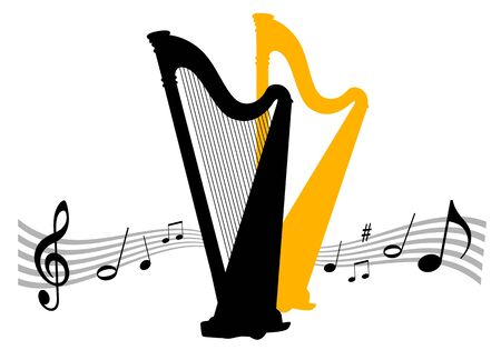 Music vector illustration with harp