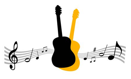 Music instrument illustration with guitar