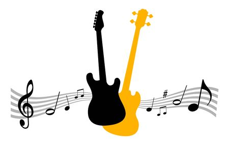 Music instrument vector illustration with guitars
