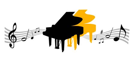 Music instrument illustration with piano