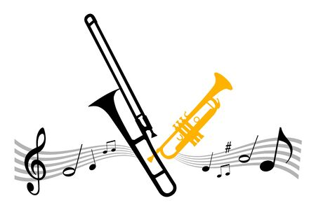 Music instrument illustration with trombone Illustration