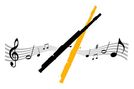 Music instrument illustration with flute