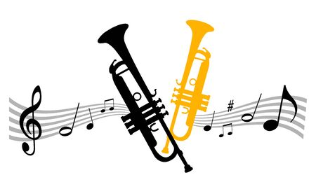 Music instrument illustration with trumpet