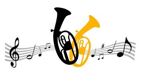 Music instrument illustration with tuba