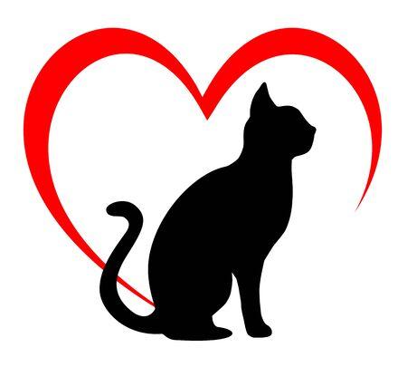 Cat in heart vector illustration