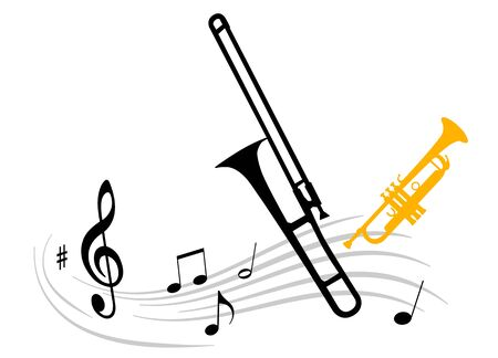 Vector illustration with trombone and trumpet Illustration
