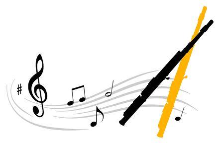 Music vector illustration with transverse flute Vettoriali