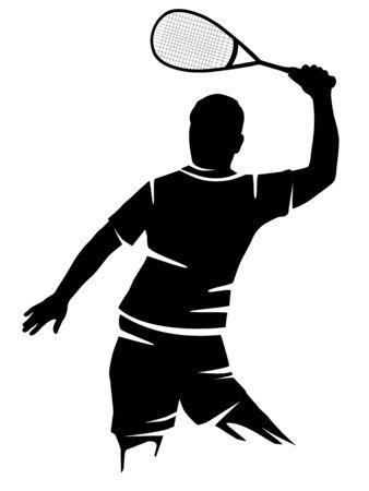 Squash player vector illustration