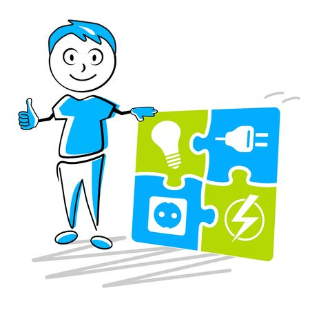 Electrician service cartoon vector illustration