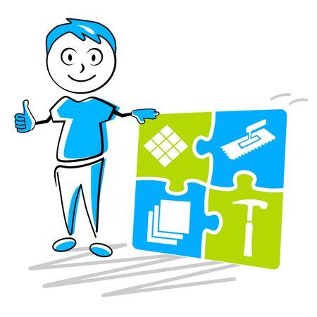 Tiler service vector illustration Vecteurs