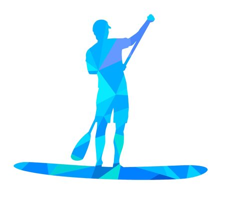 Stand up paddling vector illustration