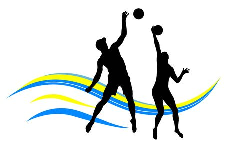 Beach volleyball sport vector illustration