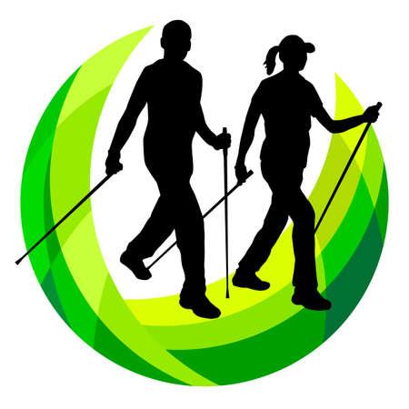 Nordic walking graphic in vector quality. Vektorové ilustrace
