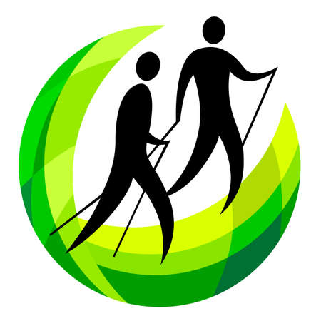 Nordic walking graphic in vector quality.