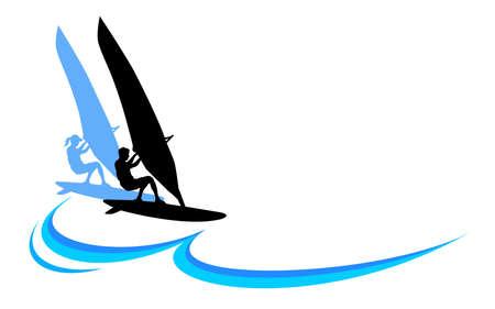 Windsurfing sport logo in vector quality.
