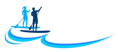 Stand up paddling design logo in vector quality. Logo