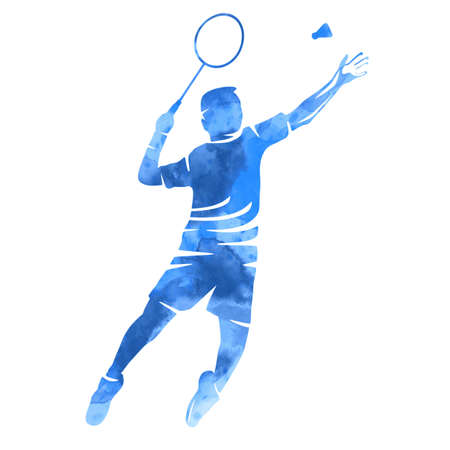 Badminton player graphic in vector quality.