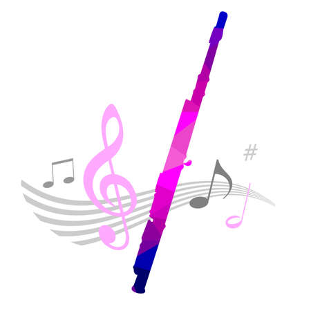 Music graphic with flute in vector quality. Vektorgrafik