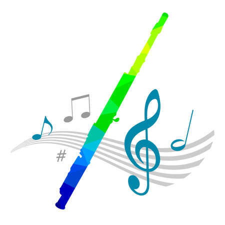 Music graphic with flute in vector quality.
