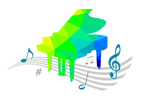 Music graphic with piano in vector quality.