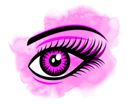 Eye graphic with watercolor background in vector quality. Çizim