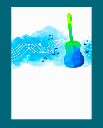 Music graphic with guitar on watercolor background.