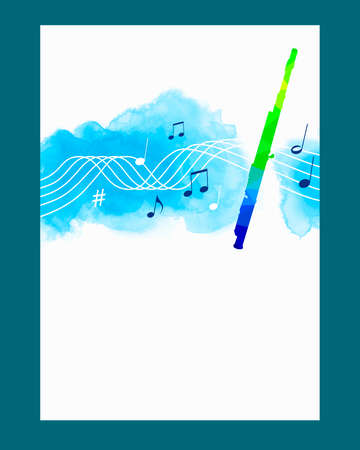 Music graphic with transverse flute on watercolor background.