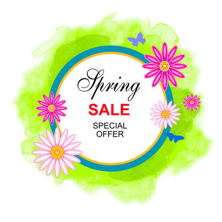 Spring sale graphic with flowers in vector quality.
