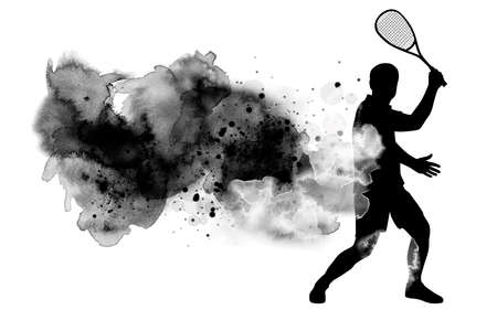 Squash sport graphic with watercolor background in vector quality.
