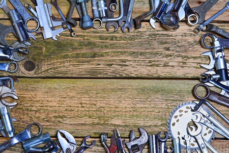 mechanic tools: Tools on the wood background