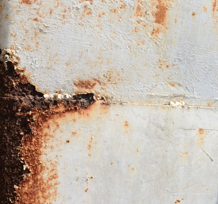 panting: grunge metal white panting and rust texture Stock Photo