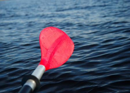 cayak: red paddle or oar of boat with dark lake background