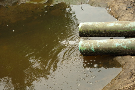 industrial dirty waste water pipe Banco de Imagens