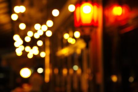 street corner: blur lamp light in the street corner of bar background Stock Photo